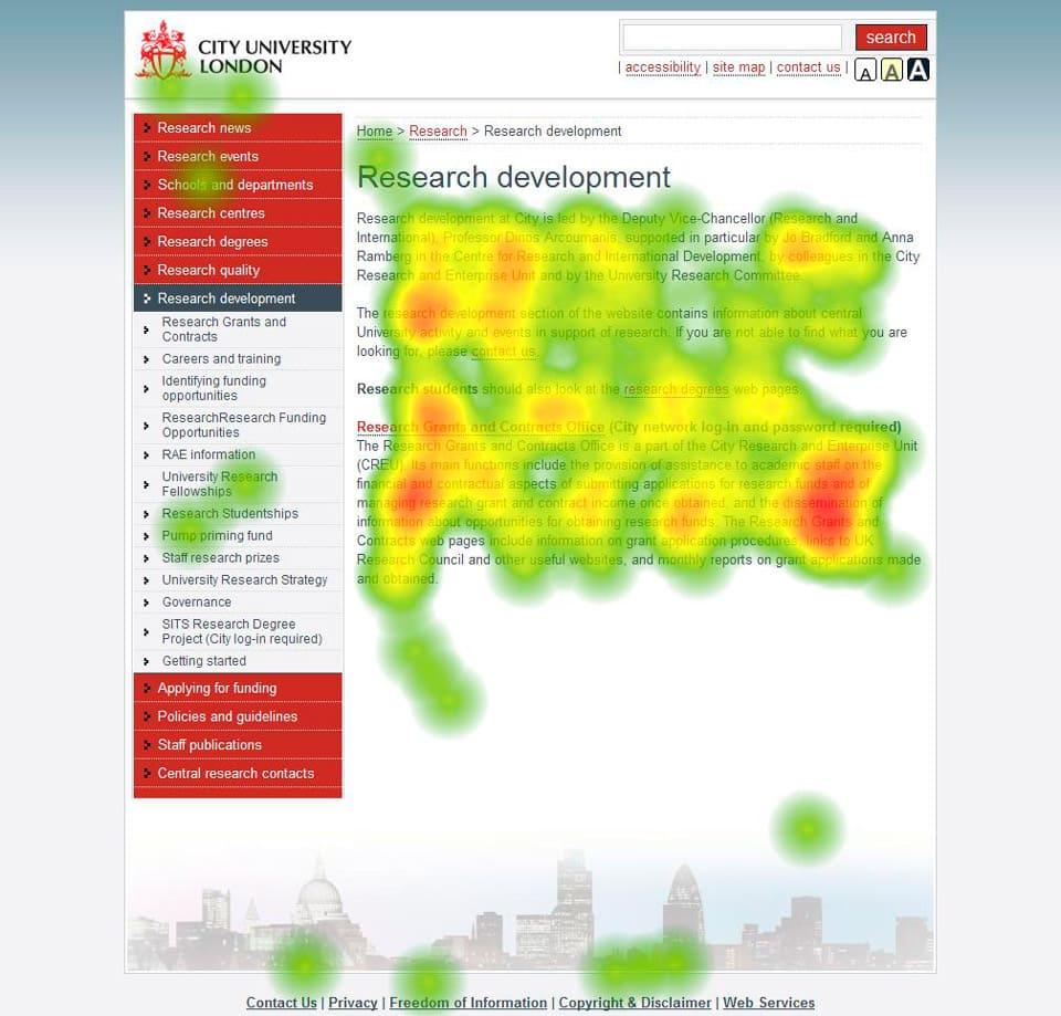 heatmap web universidad de Londres