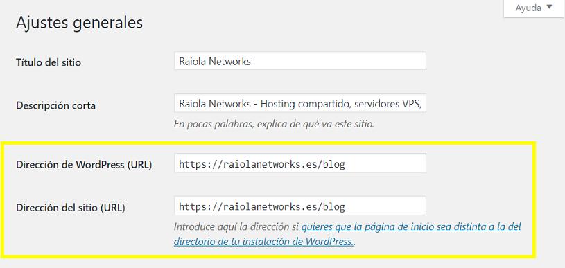 WordPress Ajustes Generales