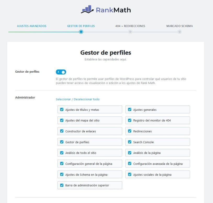 Gestor de perfiles rank math