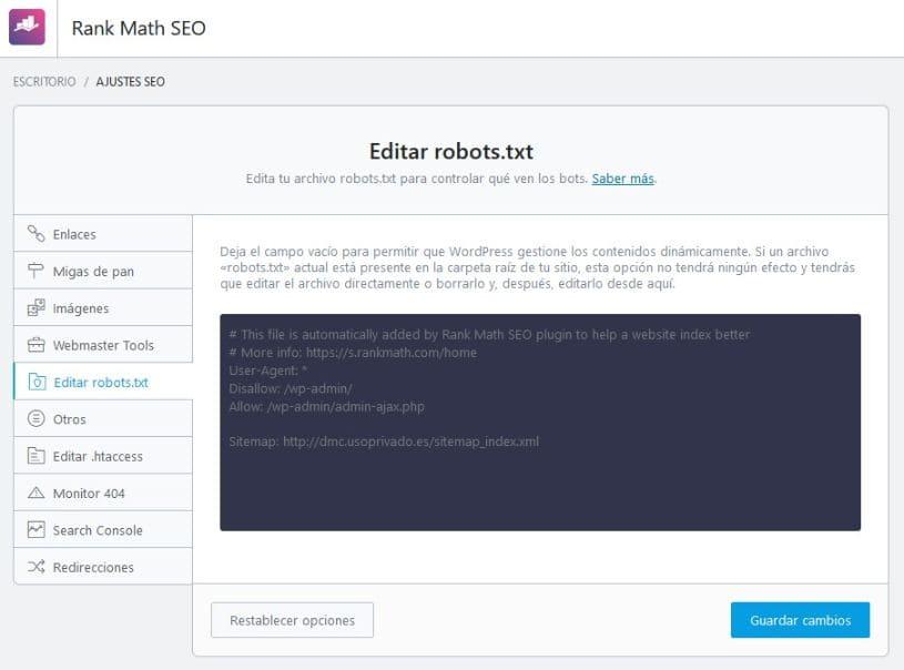 Ajustes generales editar robots