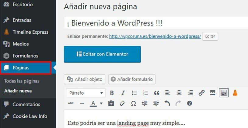pagina wordpress