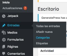 Menú para Crear Categorías en WordPress