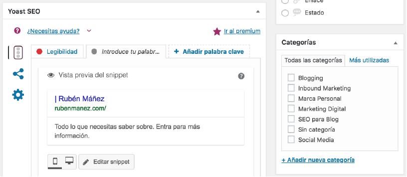 Asignar entradas a Categorías de WordPress