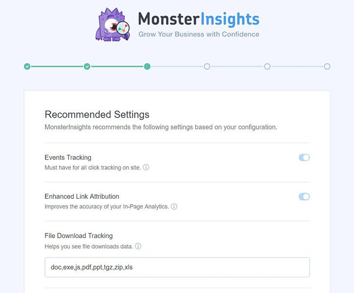 monsterinsights-ajustes-recomendados