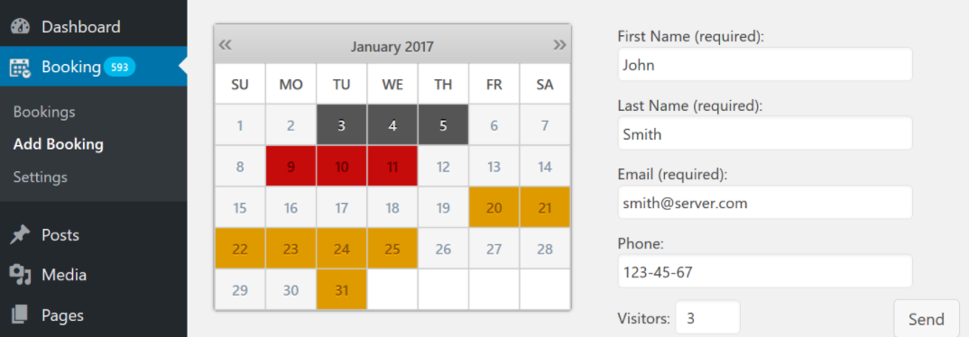Captura del calendario del plugin WordPress Booking Calendar