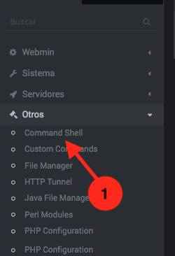 Como abrir una consola web en Webmin - paso 1