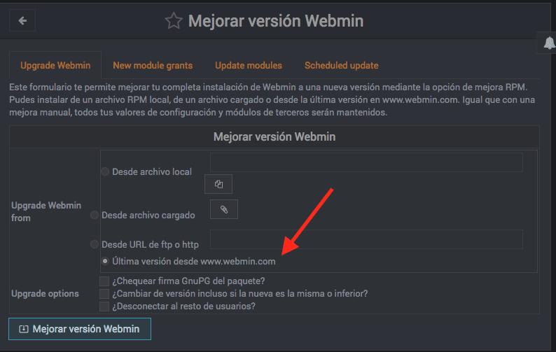 Como actualizar Webmin - Paso 2
