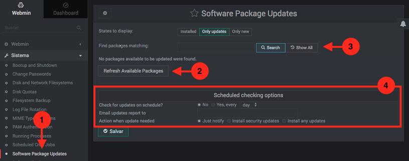 Como actualizar los paquetes del sistema en Webmin