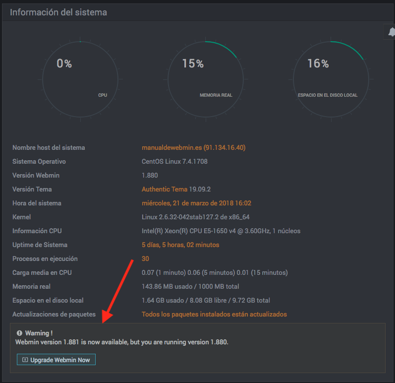 Como actualizar webmin - paso 3