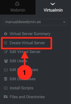 Como añadir un dominio a Virtualmin - Paso 1