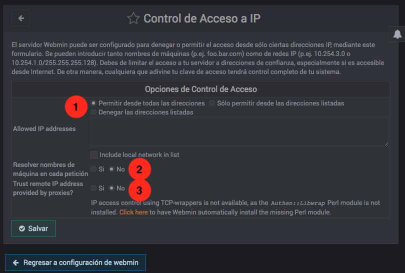 Como bloquear IPs en Webmin - Paso 2