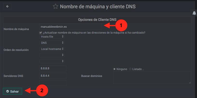 Como cambiar el hostname en Webmin