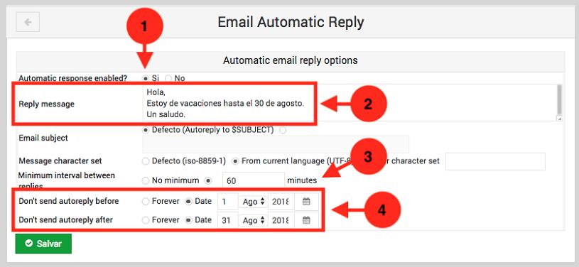 Como crear una auto respuesta en usermin - paso 2
