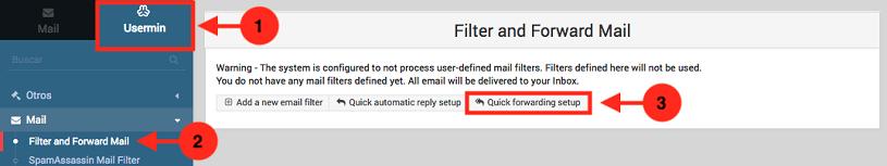 Como crear una redireccion de correo en usermin - paso 1