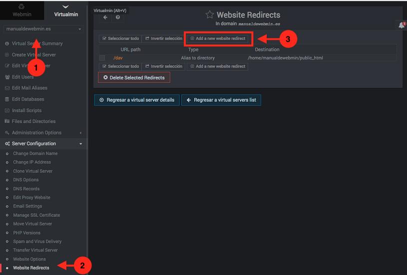 Como crear una redireccion en virtualmin siendo administrador - paso 1