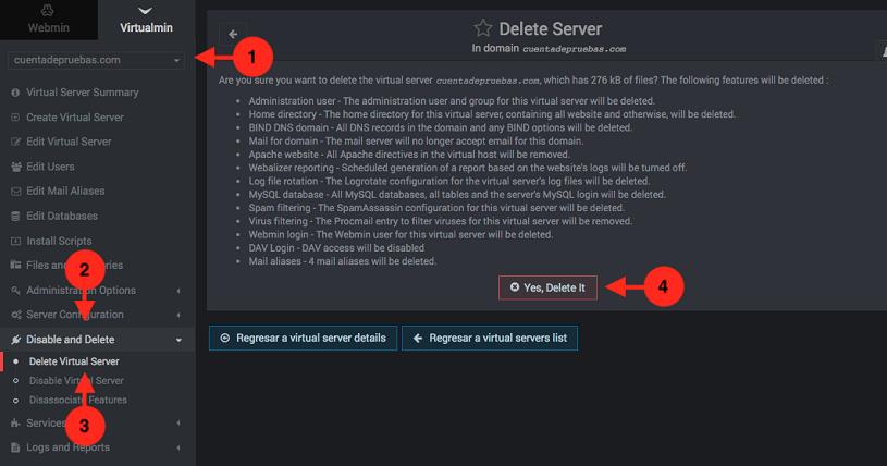 Como eliminar un dominio de Virtualmin