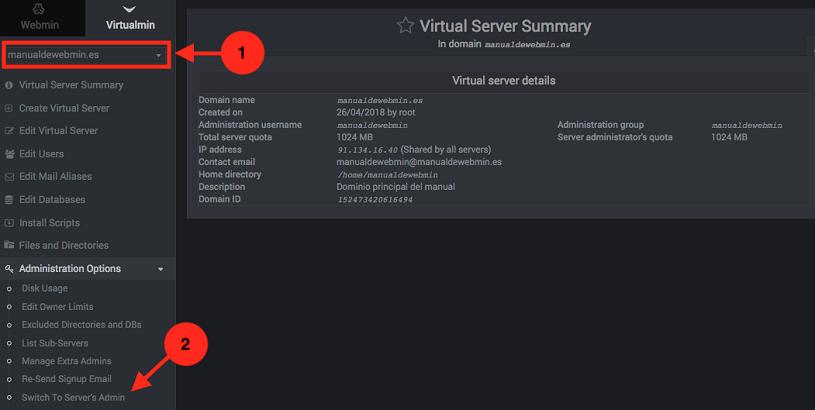 Como forzar el login a una cuenta de virtualmin
