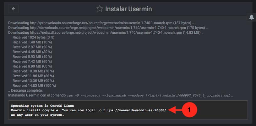 Como instalar Usermin en Webmin - Paso 2