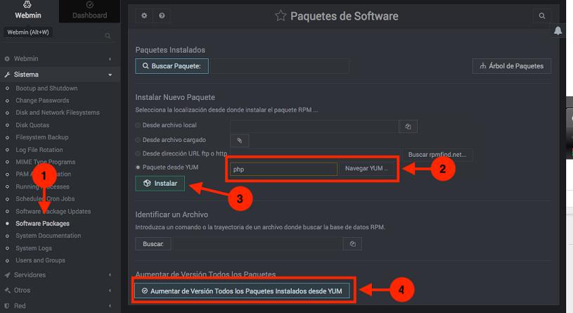 Como instalar programas en Webmin