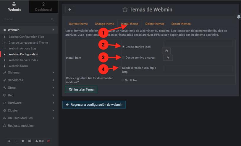 Como instalar un tema en Webmin