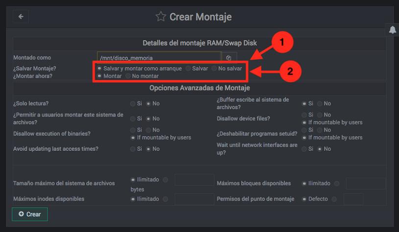 Como montar un sistema de ficheros en Webmin - Paso 3