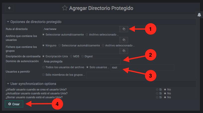 Como proteger directorios web con contraseña en Webmin - Paso 2
