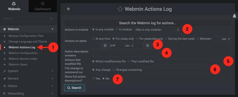Como ver el log de acciones de Webmin - Paso 1