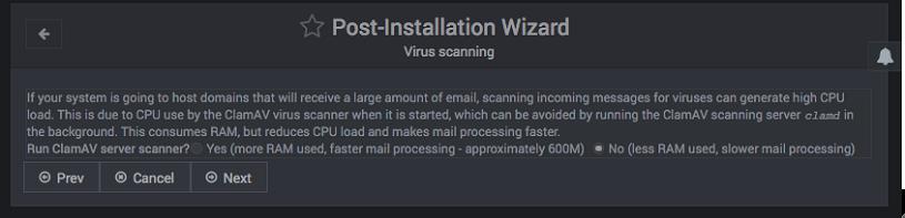Configuración inicial de virtualmin - Paso 3