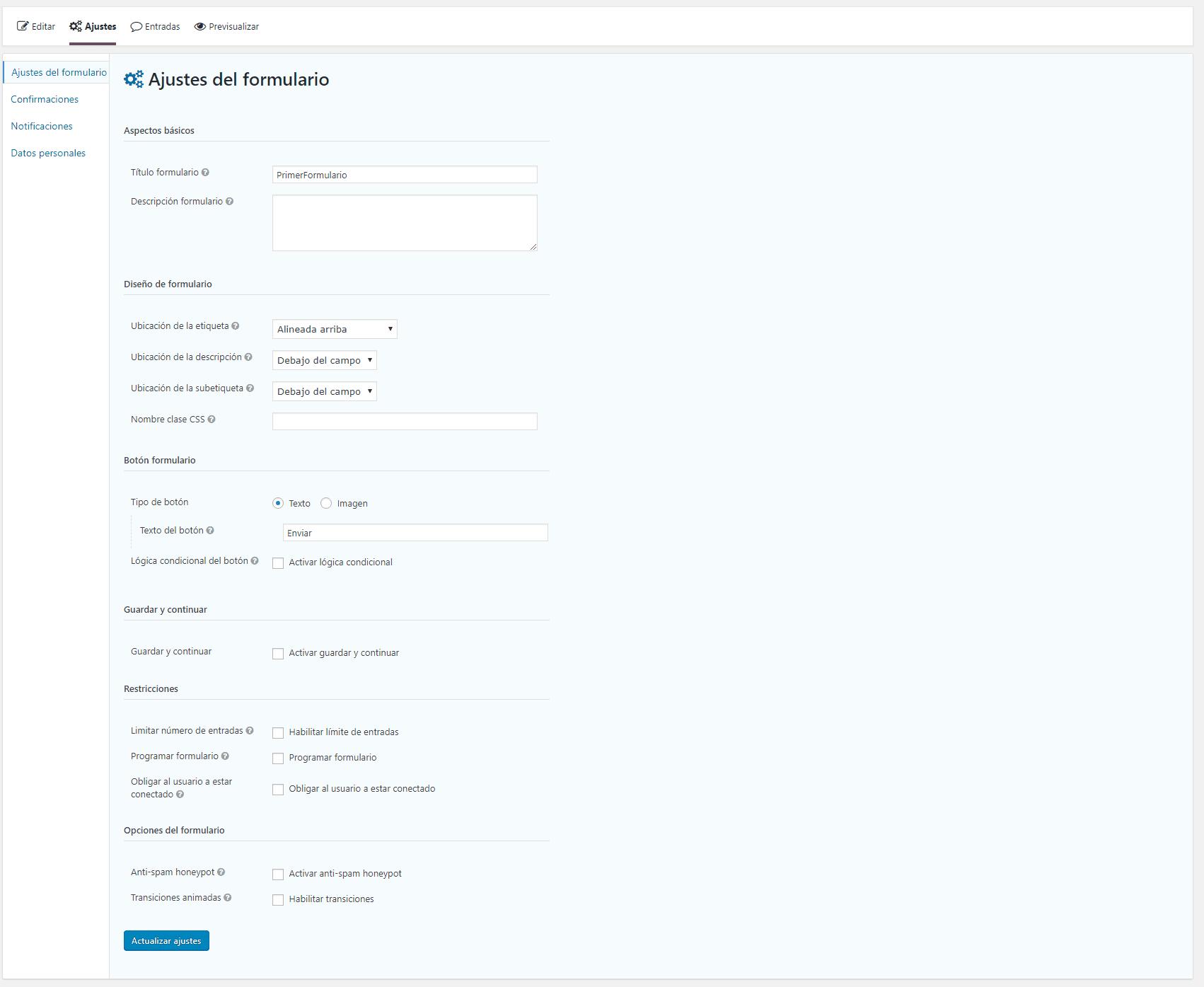 Configuración general formulario