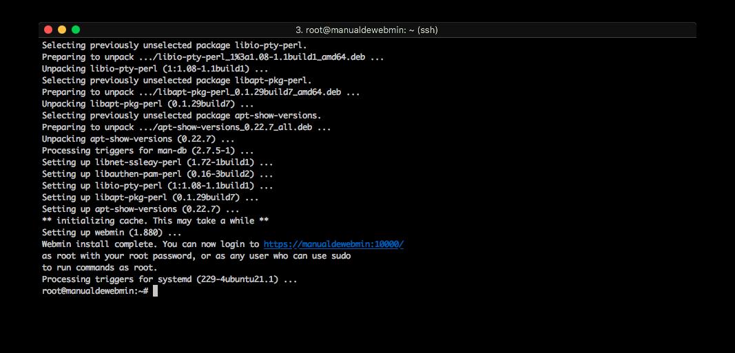 Instalar Webmin en Ubuntu 16.04 - Paso 5 - Instalacion terminada
