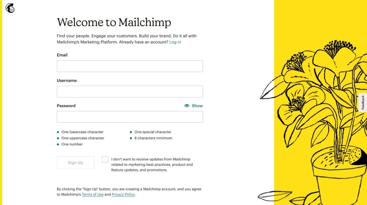 Registro en mailchimp