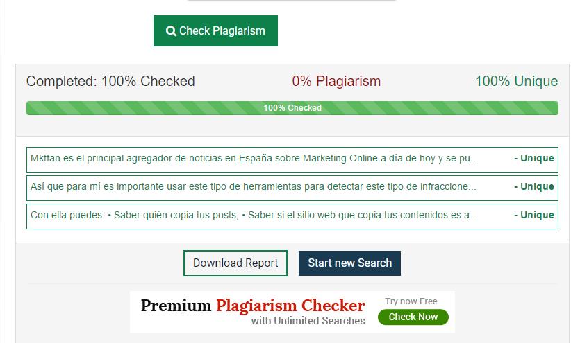 Captura de la herramienta Plagiarism Checker