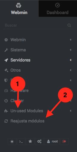 Solucionar problemas con modulos de Webmin que no se activan - Paso 1