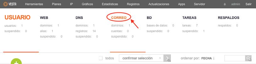 añadir nuevo dominio correo vestacp 1