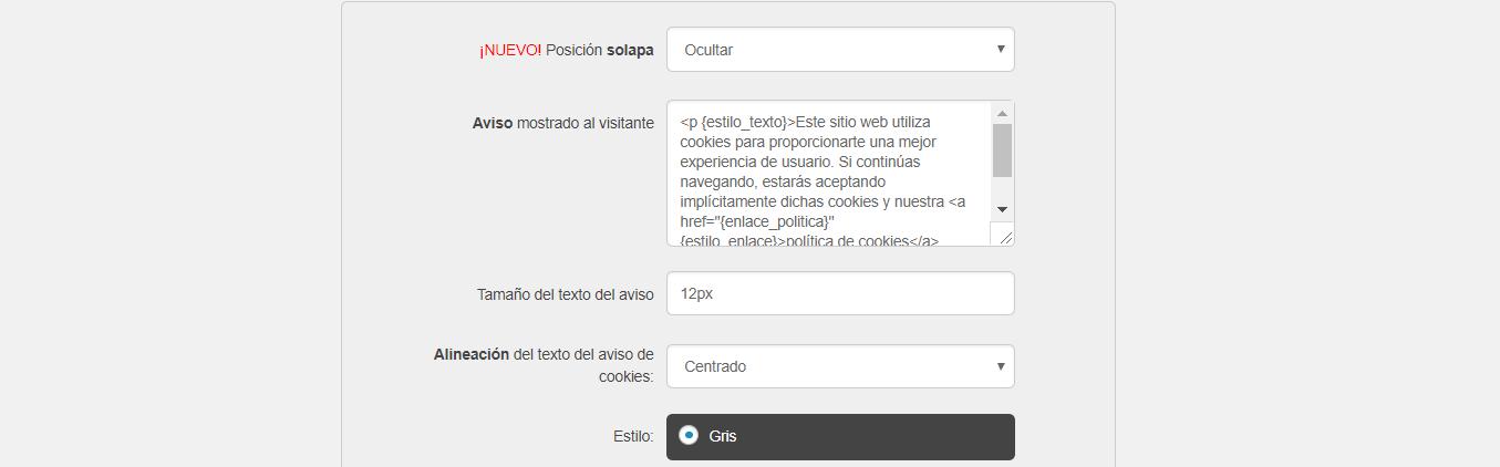 Pantalla de Configuración del plugin Asesor de Cookies para WordPress
