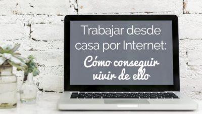 Ordenador portátil con título en pantalla: cómo trabajar desde casa por Internet