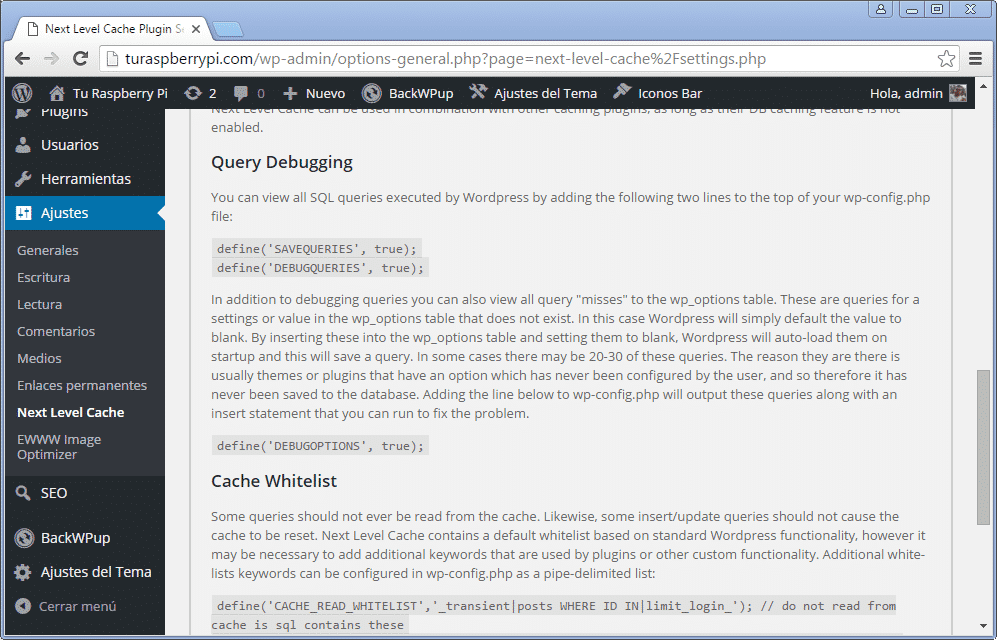 query cache wordpress