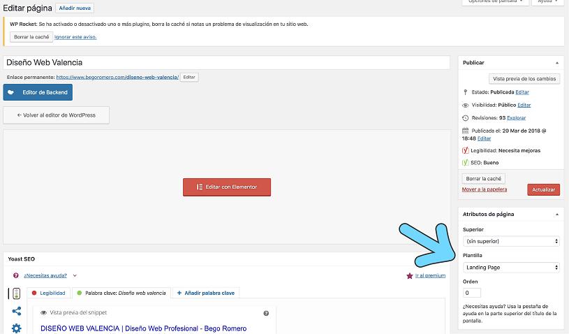 Opción para crear landing page en WordPress