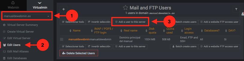 como crear un correo en virtualmin como administrador - paso 1