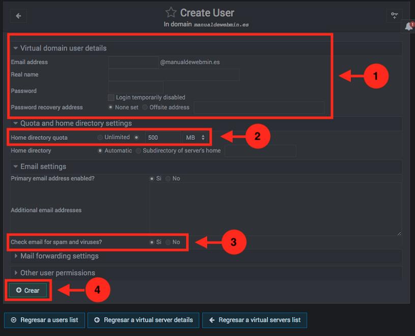 como crear un correo en virtualmin como administrador - paso 3