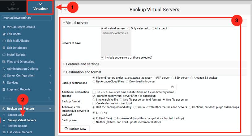como hacer copias de seguridad en virtualmin siendo propietario