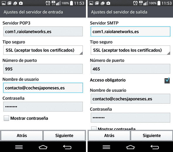 correo android cpanel