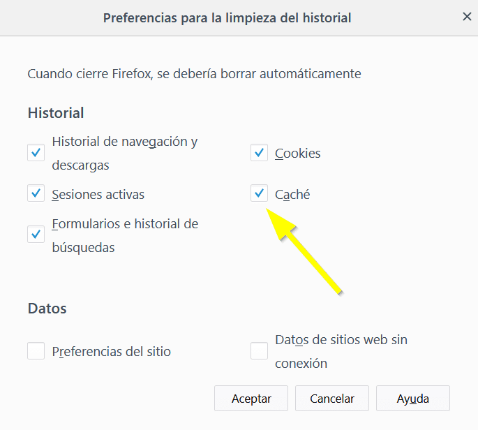Configuracion para limpiar el historia de Firefox