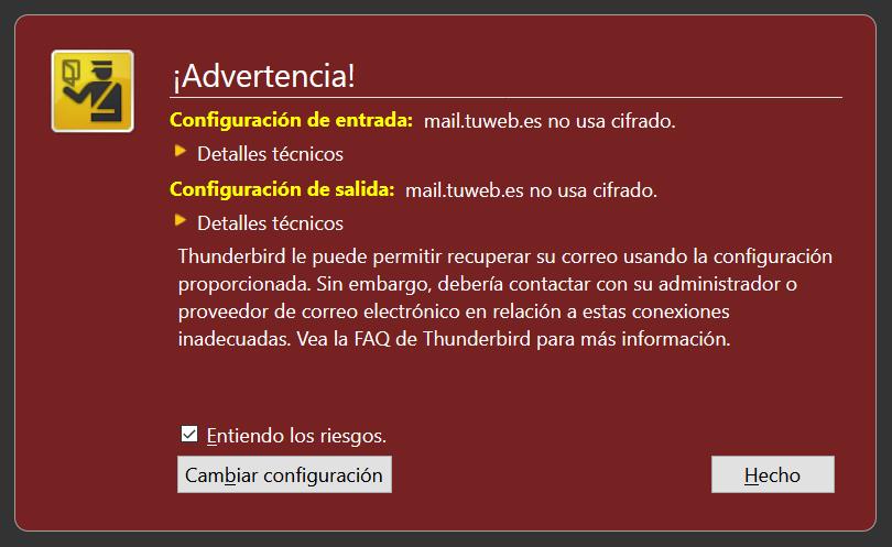 Ejemplo del aviso de que el servidor de correo no usa cifrado SSL