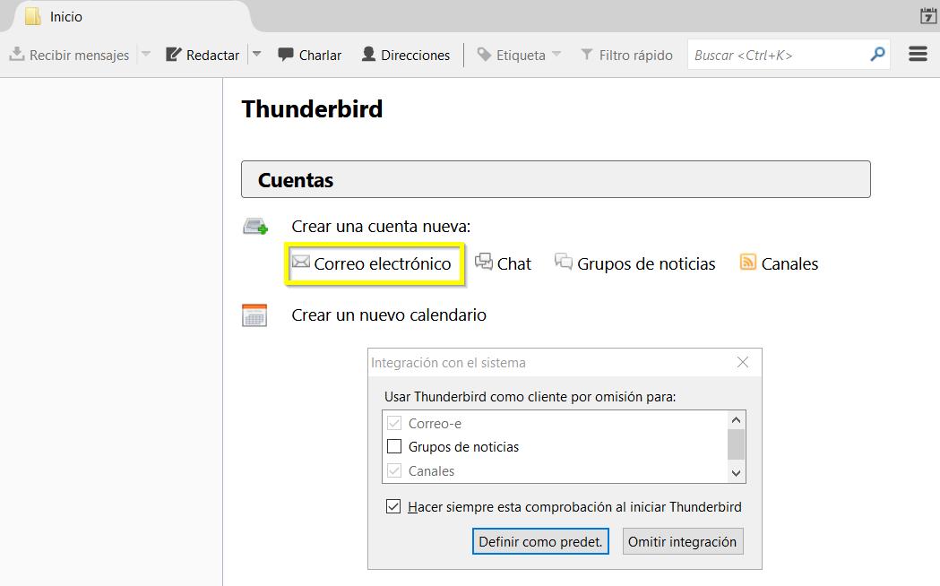 Configurar nuevo correo electrónico en Mozilla Thunderbird