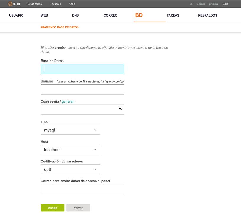crear nueva base de datos en vestacp 3