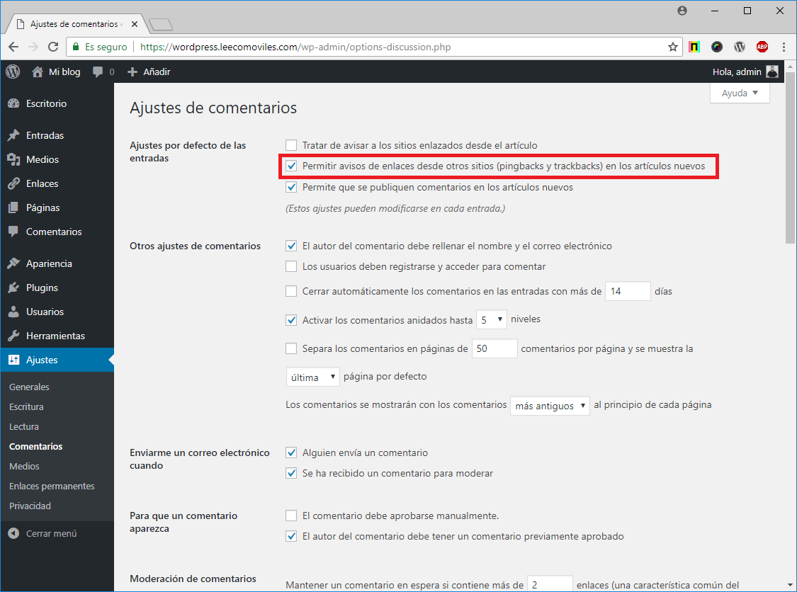 desactivar pingbacks wordpress