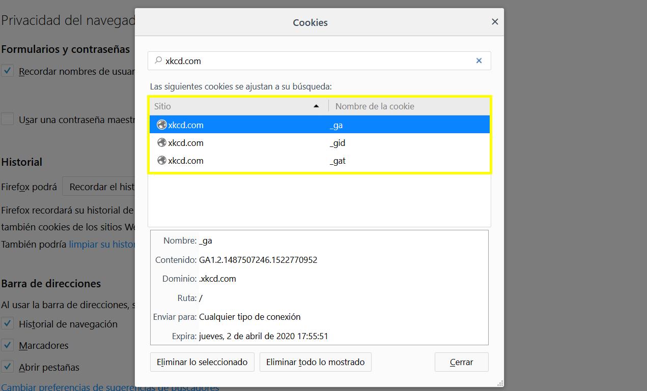 Cómo comprobar qué cookies usa una web en Firefox