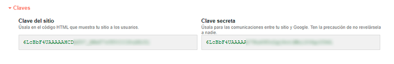 Google Recaptcha claves secretas