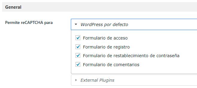 Google Recaptcha donde aplicarlo